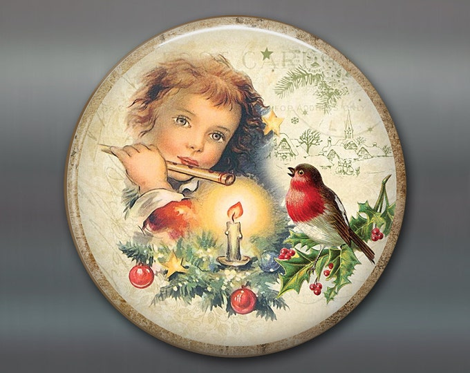 """3.5"""" vintage christmas decorations - vintage picture magnets - holiday ornaments for the tree - fridge magnet kitchen decor MA-HOL-13"""