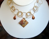 Copper and gold make a fun statement necklace