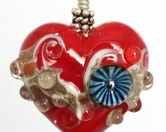 "Sterling Silver and Lampwork Heart Pendant. Red, Blue ""Anemone"", Sand Bubbles. Clare Scott Bead"
