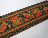 Quilted Table Runner, Fall Table Runner, Floral Table Runner, Pumpkins, Harvest, Home Decor, Fall Decor, Handmade Table Runner, Table Quilt