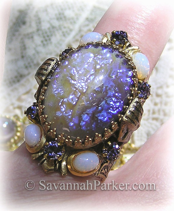 "Antique Style Egyptian Revival Art Deco ""Cleopatra"" Tanzanite Dragons Breath Ring - Violet Fire Art Glass Stones - Dragon's Breath Jewelry"