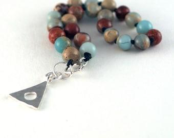 Blue Opal, Knotted Beaded Bracelet, Al-Anon Jewelry, Al-Anon Bracelet, Sterling Silver Al-Anon Charm, JewelrybyNaomi, Recovery Jewelry