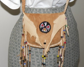 Leather medicine bag beaded thinderbird rosette cross body mountain man pow wow