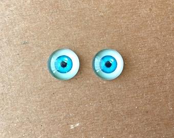 doll Glass eyes flat back 8 mm diameter 4 mm iris PALE AQUA