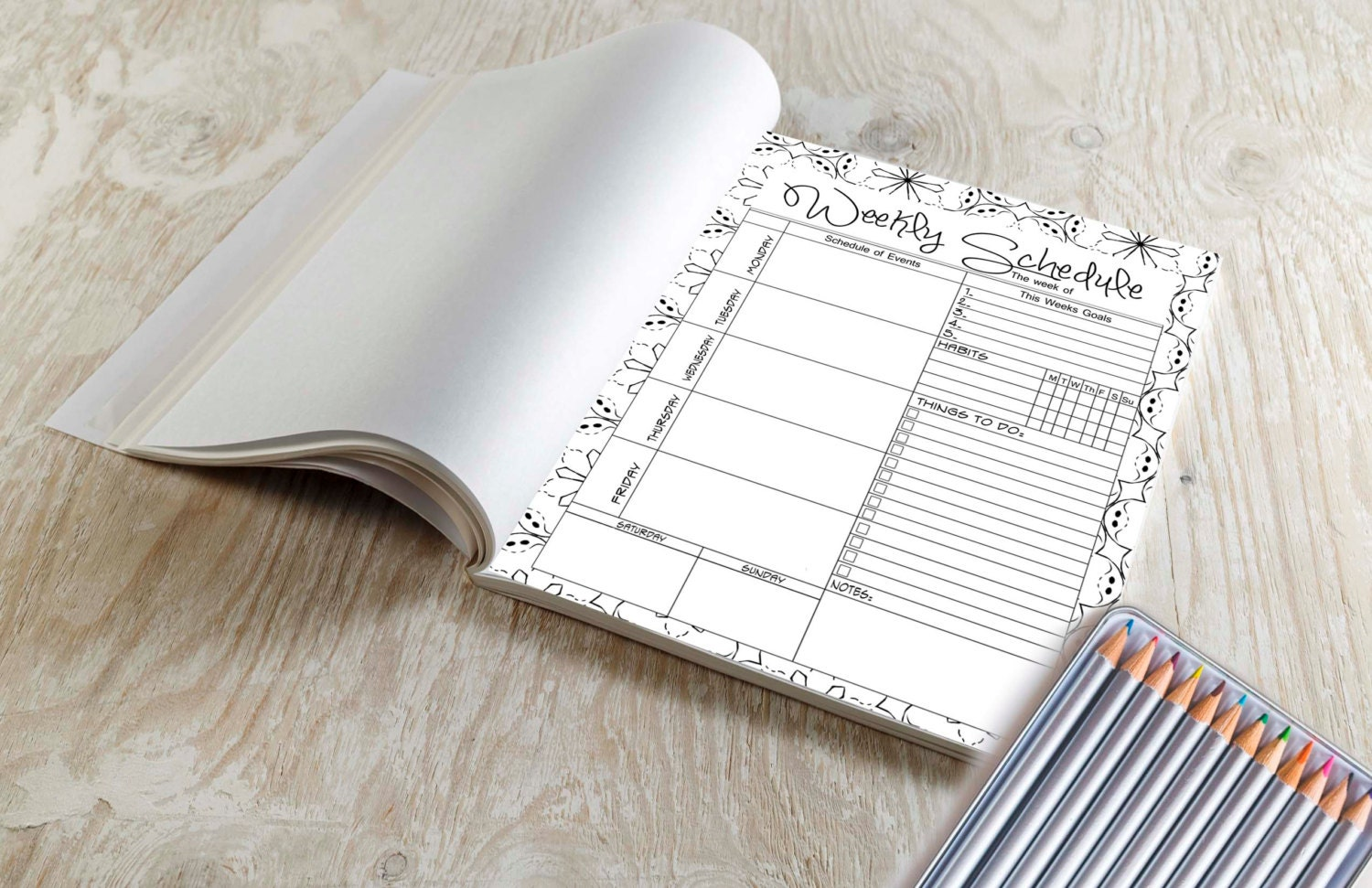 Weekly planner coloring book 30 weeks of planning and Coloring book planner
