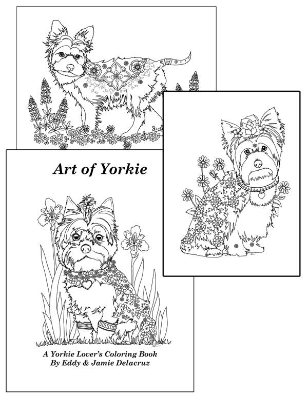 Art Of Yorkie Coloring Book Volume No1 Downloadable Version