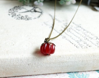 Pumpkin Necklace. fall autumn necklace, harvest jewelry, thanksgiving, autumn pumpkin