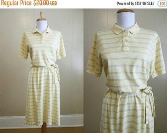 20% Off FALL SALE Polo Shirt Dress Vintage 80s Prep Yellow Stripe Knit Belt Medium