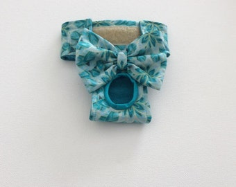 Female Dog Diaper / Panties / Britches / Nappy - Teal Floral with Gold Sparkle - Available in all Sizes
