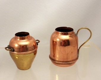2 Miniature Copper Brass Dollhouse Dishes with Handles Mini Vases made Japan
