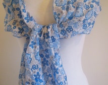 Long Scarf, Blue Scarf,Flower Scarf, Floral Shoulder Wrap, Cotton Scarf, Scarves for Women, Spring Scarf, Cotton Shawl, Scarves by Sweetnola