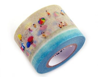 MASTE kids on the sandy beach masking tape - family beach vacation & blue ocean - japanese washi tape