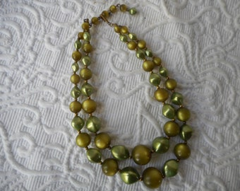Vintage 2-Strand 1970's Green Beaded Necklace-Free USA Shipping