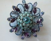SCHREINER Brooch Pin Earrings Set Blue Purple Turquoise 3 tier two toned stones New York Vintage