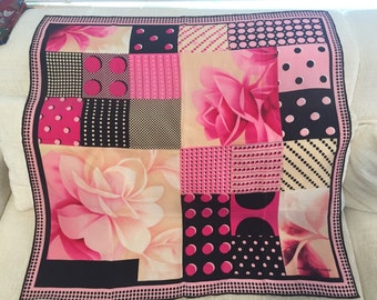 Perfect Pink and Black Polka Dot Floral Vintage JEAn-LOUIS SCHERRER Silk Scarf