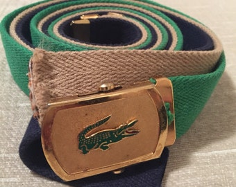Vintage LACOSTE Brass Belt Buckle and 3 Canvas Belts Set