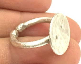Adjustable Ring Blank, (15mm blank ) Antique Silver Plated Brass G4970