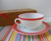 Pyrex Pink Flamingo Teacup Cup Saucer Dinnerware 1950s