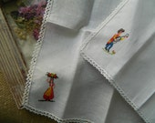 2 Vintage Hankies Good Vintage Condition #3267