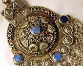 Huge Tribal Pendant, Turkmen, Lapis, Silver,Crystals, Chain Fringe, Silver, Turkmenistan, Belly Dance, Hippie, Boho, Sunni, FREE US Shipping
