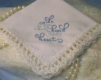Something Blue, Bridal Keepsake, Crochet Handkerchief, Hankie, Hanky, Lace, Lacy, Personalized, Monogrammed, Embroidered, Ready to ship