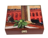 Edward Hopper Cats Large Keepsake / Memory Box, Window, Wood, Treasure Box, Cat Lover Gift by Deborah Julian