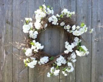 """Silk White Cherry Blossom Wreath on Twig Wreath. 20"""""""