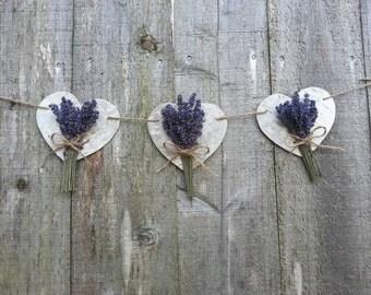 birch bark and lavender garland
