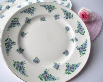 Vintage Salad Plates Royal Victoria Pink Purple Floral Bone China Set of Three