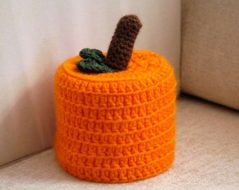 Orange Pumpkin Toilet Paper Cover, Crochet Cozy, Halloween, Storage, Bathroom Organization, Fall Home Decor