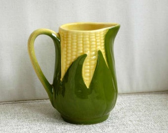 Shawnee Pottery King Corn Creamer #70, Vintage 1940s Small Ceramic Pitcher, Farmhouse Home Decor, Kitchen, Dining