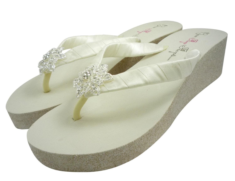 vintage flower wedge flip flops glitter heel by. Black Bedroom Furniture Sets. Home Design Ideas
