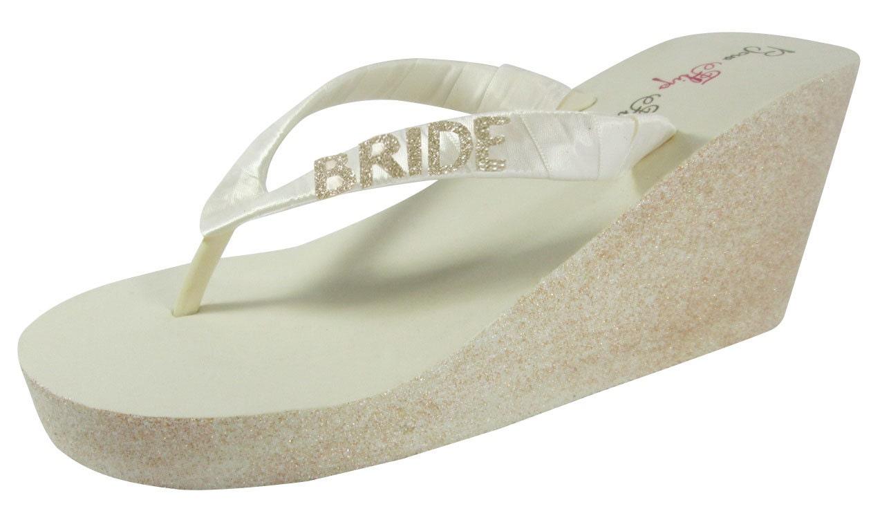 Bride Glitter Wedge Bridal Flip Flops Design Your Wedding