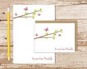 butterfly personalized stationery set . butterfly tree notepad + note card set . notecards note pad . spring womens stationary gift set