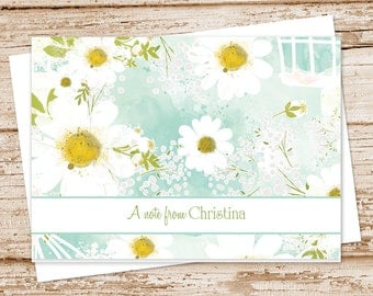 personalized daisy note cards . notecard . watercolor camomile daisies.  personalized stationery . folded cards  . set of 8