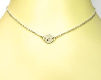 Sideways Initial Disc Necklace- Custom Disc Necklace- Custom Initial Necklace- Circle Necklace Silver- Sideways Disc Small