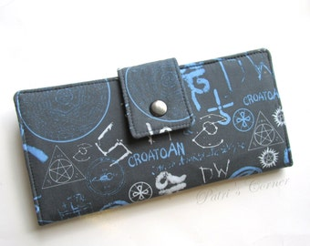 Last one - Handmade women wallet -Supernatural symbols - spells and objects - Ready to ship - cotton purse - Sigils - gift ideas for her