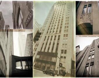 Minneapolis Collaged, Rand Tower, sepia, aged, architecture,  art photo montage wall art, decor, office art, Minnesota art, corporate art