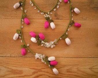 pink crochet necklace, lariat