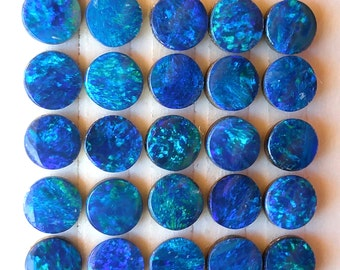 Opal Cabochon 4mm Round Blue Cobalt Green Australian ONE Stone Perfect for Stacking Rings Jewelry Confetti Pin Fire Sparkle Teal Aqua
