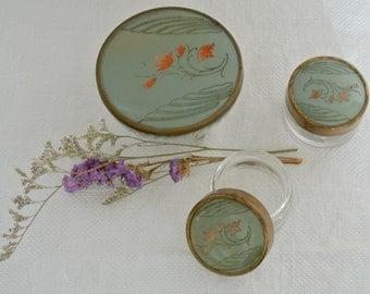 """Set of THREE (3)- Art Deco-Painted Lidded Dresser """"Jars""""-Make-Up-Bath & Beauty Jars"""
