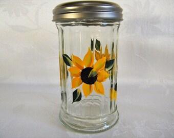 Painted Shaker, cheese shaker, large shaker, painted shaker with sunflowers, painted sunflowers