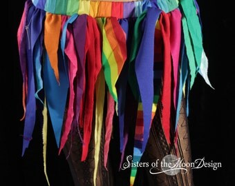 Rainbow Pixie tattered point skirt lace clown costume shabby chic fairy gypsy playa boho belly dance pride -Ready to ship -Small - Enchanted