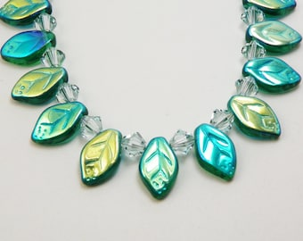 Teal  Green Aqua Glass Leaves Necklace /  Woodland  /  Autumn / Nature  Lover
