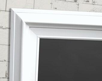 "ANY COLOR FRAME - 53""x29"" Dorm Room Office Chalkboard Art Board White Framed Modern Magnetic Framed Chalk board Long and Narrow Chalkboard"