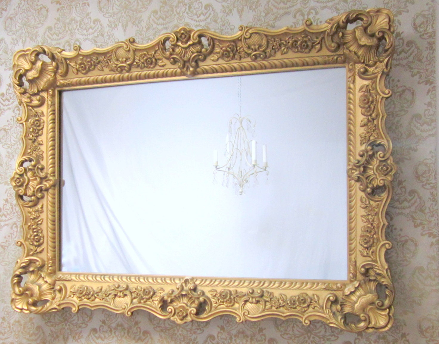 Hollywood regency mirrors for sale 45x33 large for Large framed mirrors