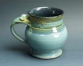 Large pottery beer mug, ceramic mug, stoneware stein blue 18 oz 3260