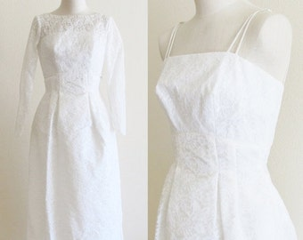 40% OFF SALE Vintage 1960's Bridal Gown / 50's 60's White Chantilly Lace Wedding Dress / Nipped Waist Formal Mid Century Bolero Jacket Maxi