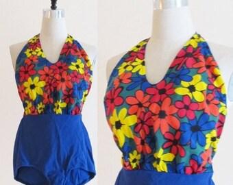 40% OFF SALE Vintage 1960's Retro Floral Print Swim Suit / 50's 60's Flowered Pin Up Bathing Suit
