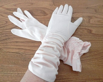 Vintage Pale Pink Ruffled Ladies Gloves- Mid Length Nylon Dressy Gloves-Prom-Wedding Gloves